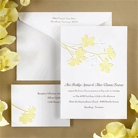 yellow wedding invitations yellow flowers wedding invitation
