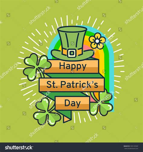 St Card Template by St Patricks Day Flat Line Greeting Stock Vector 599145569
