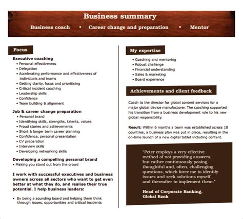 coach business plan template sle business summary template 8 free documents in