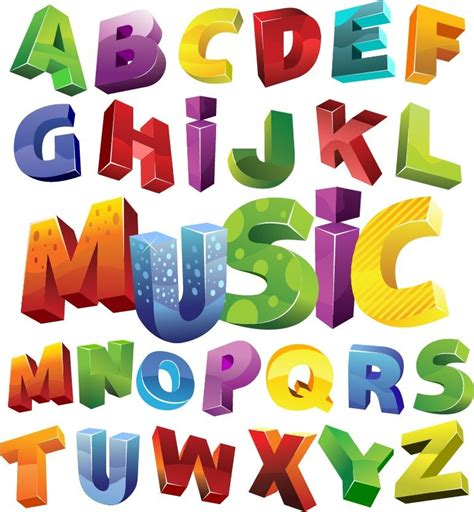 colorful 3d alphabet vector graphic free vector graphics