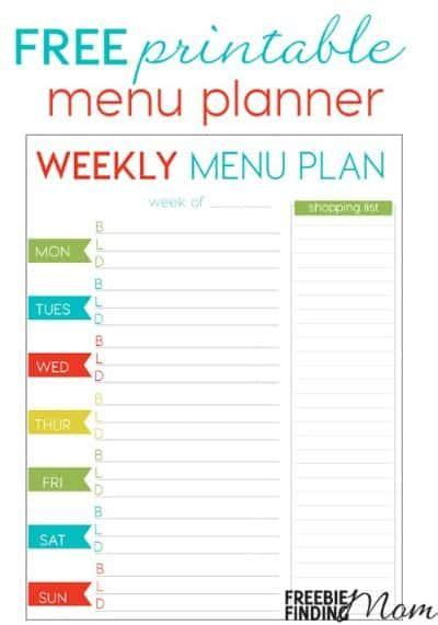 organized home printable menu planner 29 free home organization printables page 4