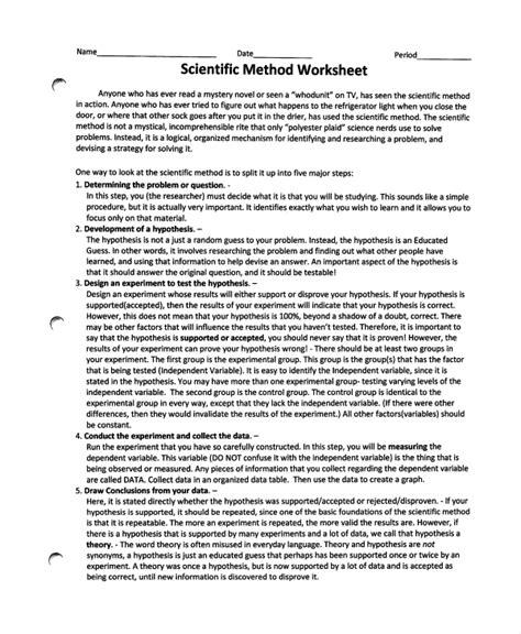 Scientific Method Answers Worksheet by Sle Scientific Method Worksheet 8 Free Documents
