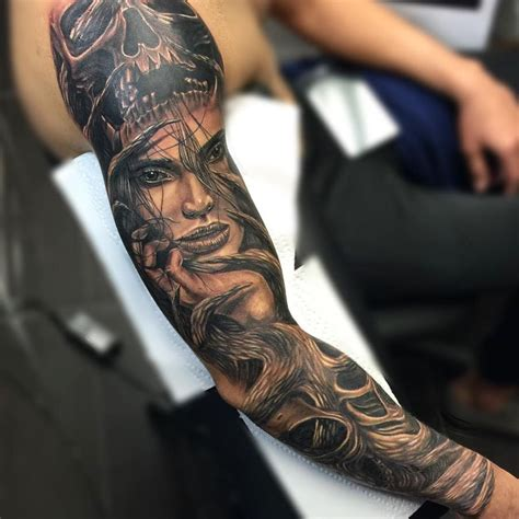 black grey sleeve tattoo designs yariel barba from inkaholik creates black grey tattoos