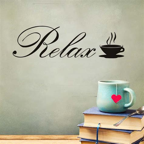 relax coffee cup cafe wall stickers fashion art vinyl