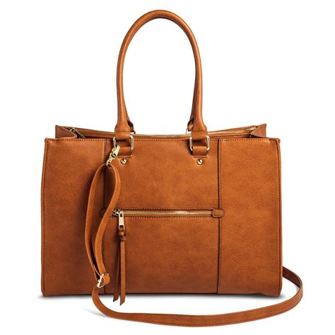 Faux Leather Tote With s tote faux leather handbag with zip front pocket