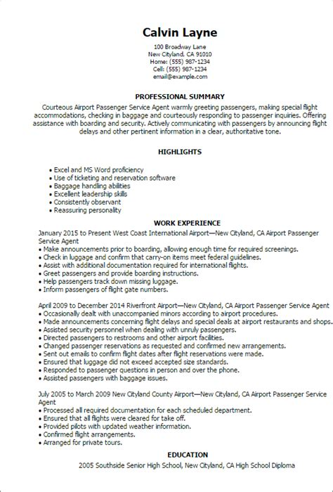 Airline Resume Format by Professional Airport Passenger Service Templates To
