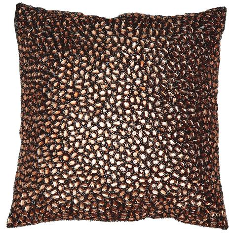 Jeweled Pillows by Brown Jeweled Beaded Pillow 10x10 Kathy Kuo Home