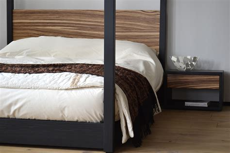 zebrano cube 4 poster bed natural bed company choosing a modern four poster bed blog natural bed company