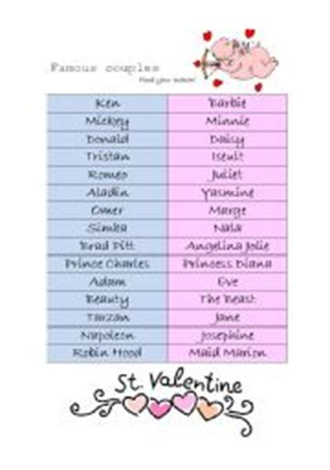 printable valentines games for couples english worksheets famous couples a game for valentine