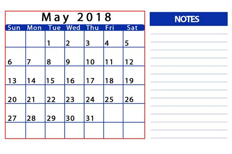 Calendar October 2017 To May 2018 Printable Monthly Calendar For May 2018 Templates Tools
