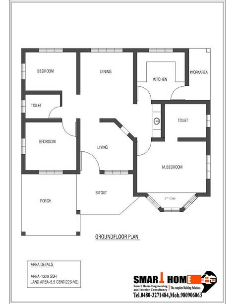 single story house floor plans single storey kerala house plan 1320 sq feet