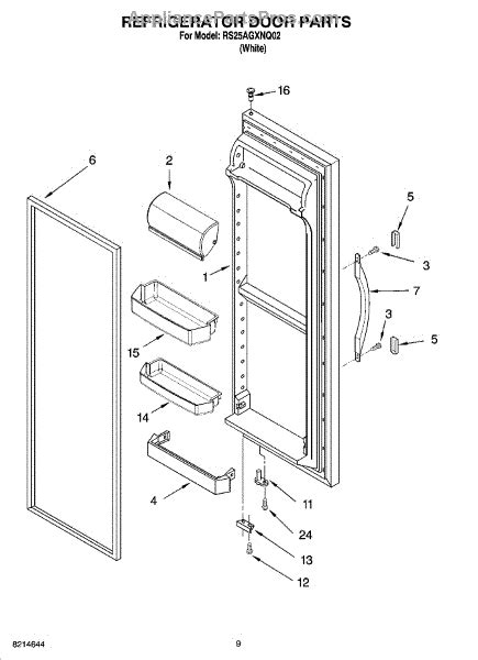 roper refrigerator parts diagram parts for roper rs25agxnq02 refrigerator door parts