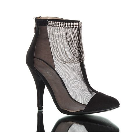mesh high heels black high heels boots with mesh decorated with a silver