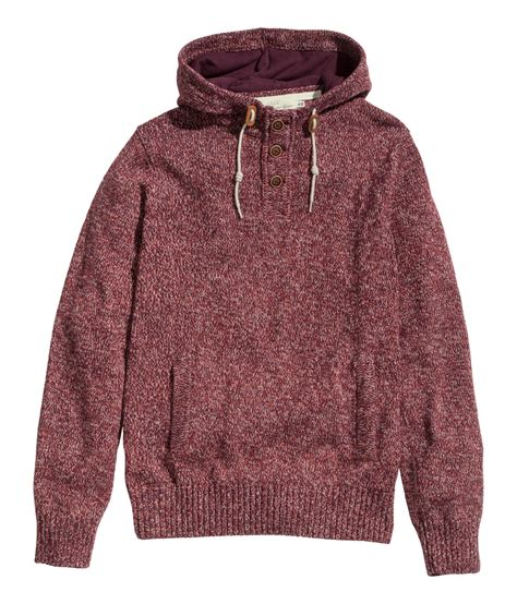 Sweater Di H M lyst h m hooded knitted jumper in purple for