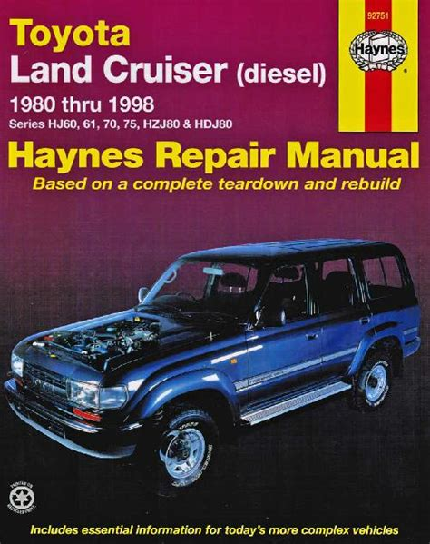 Toyota Landcruiser 80 Series Workshop Manual Free Toyota Land Cruiser Diesel 1980 1998 Haynes Service Repair