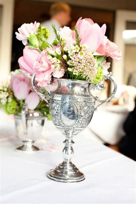 pink centerpiece in silver vase tablescapes