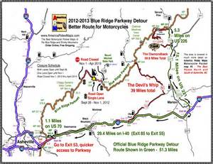 blue ridge parkway 2013 detour map for motorcycles smoky
