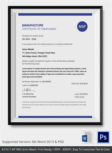 certificate of manufacture template certificate of compliance template 9 free word pdf