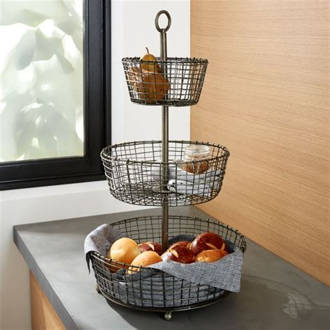 bendt  tier iron fruit basket reviews crate  barrel