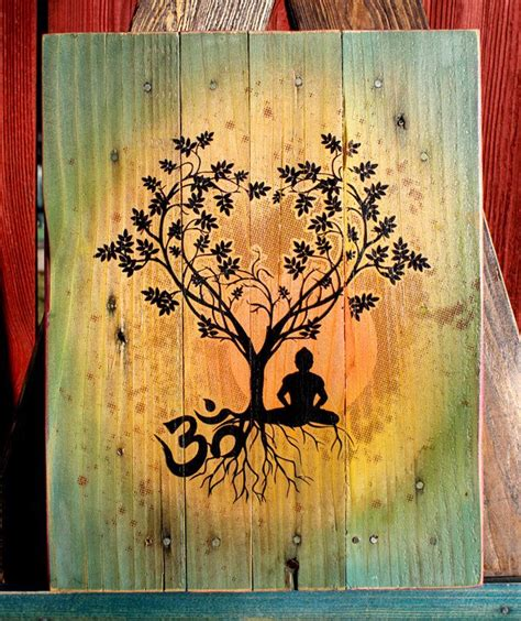 Bodhi Tree Quot Om Quot Pallet Art Upcycled One Of A Kind Bodhi Tree Designs