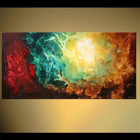 original contemporary teal abstract acrylic painting colorful