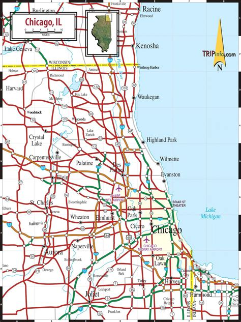 america map chicago map chicago il map of chicago il united states of america