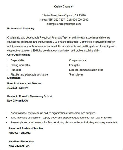 Preschool Assistant Sle Resume by Free Resume 40 Free Word Pdf Documents Free Premium Templates
