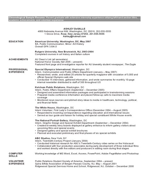 chronological resume exles sles chronological order resume template 28 images pin