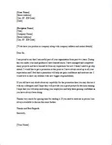 Promotion Cover Letter Exle by Request Letter For Getting Promotion Pay To Write