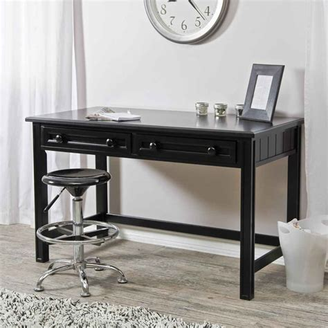 black writing desk with drawers black computer desks feel the home
