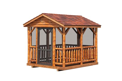 10 X 12 Wood Gazebo 8 X 10 Log Gazebo 171 Amish Sheds From Bob Foote