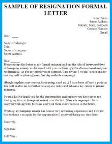 Sle Resign Letter Format by Resignation Letter Writing A Formal Letter Of Resignation