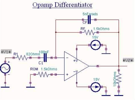 circuit diagram of integrator and differentiator using op op differentiator