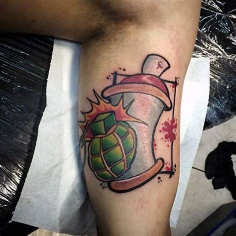 new school grenade tattoo new school style arm tattoo of grenade with spray paint