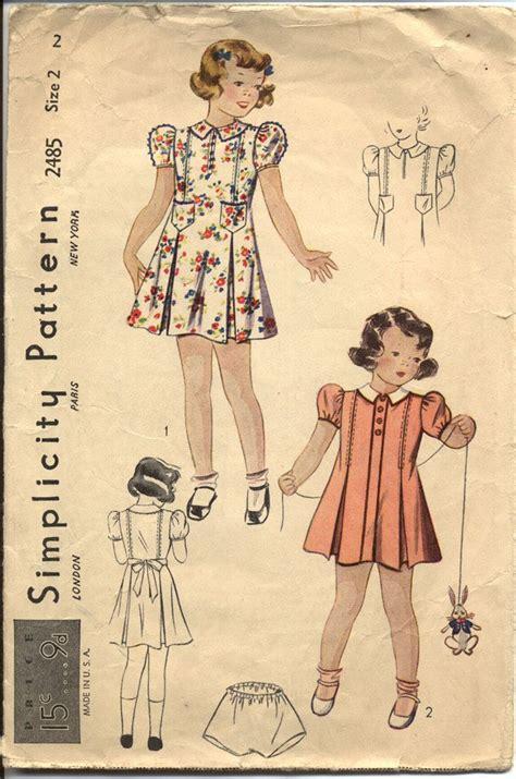 vintage pattern girl simplicity 2485 toddler girls 1930s dress pattern princess