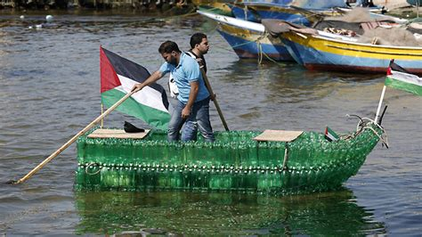 water bottle boat gazans build bottle boat