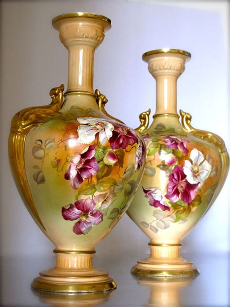beautiful pair of antique edwardian vases with magnolia s