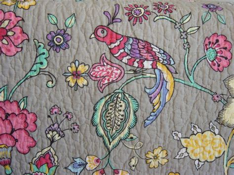 Cynthia Rowley Floral Quilt by Cynthia Rowley Gray Pink Floral Bird Peacock