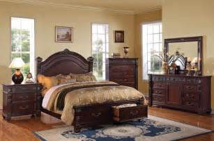 Wood Bedroom Sets Brown Cherry Wood Bedroom Set Traditional Bedroom