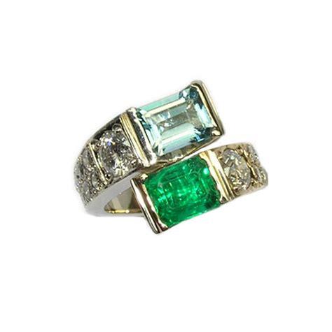 emerald aquamarine crossover ring distinctive designs