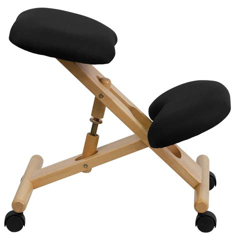 Ergonomic Kneeling Chair by Mobile Wooden Ergonomic Kneeling Chair In Black Fabric Wl