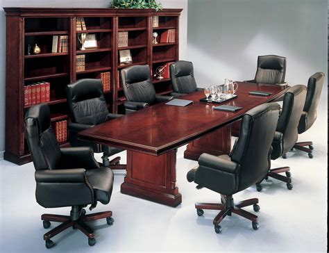 room and board desk modern conference room with white acrylic swivel chairs combined with unpolished mahogany wood
