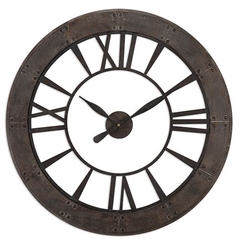 ronan dark rustic bronze large wall clock 06084 ronan dark rustic bronze wall clock uttermost wall mounted