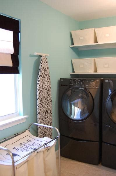 blue paint color transitional laundry room benjamin waterfall