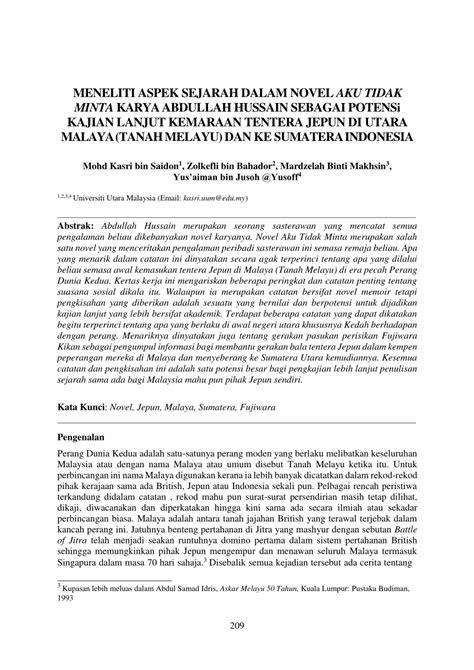 (PDF) MENELITI ASPEK SEJARAH DALAM NOVEL AKU TIDAK MINTA