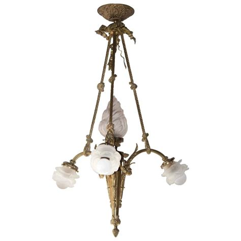 Bronze Chandelier With Shades Antique Pendant Chandelier In Gilt Bronze And Glass Shades For Sale At 1stdibs