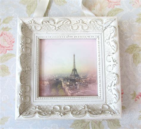 pink paris photo with frame shabby chic decor by