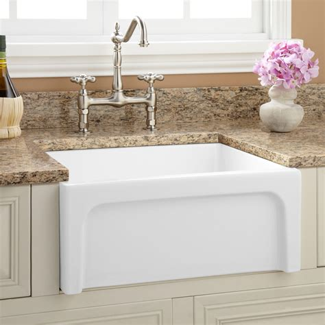 white kitchen sinks 30 quot mitzy fireclay reversible farmhouse sink smooth