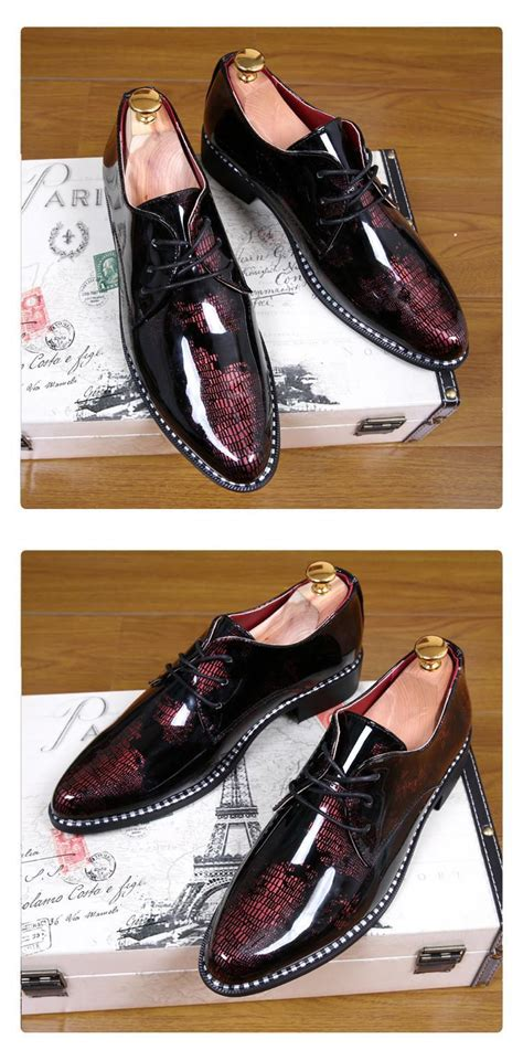 Play Boy Leisure Pointed Mens Leather Shoes Black luxury fashion s black dress shoes leather pointed toe special designer pattern shoes