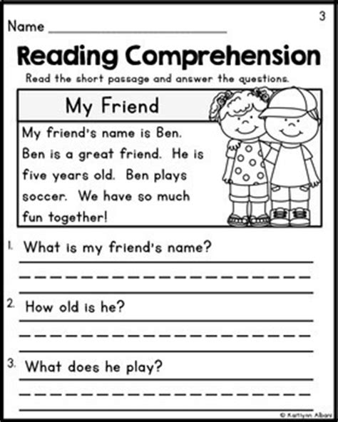 free reading comprehension activities great for pre k kindergarten reading compre by kaitlynn albani